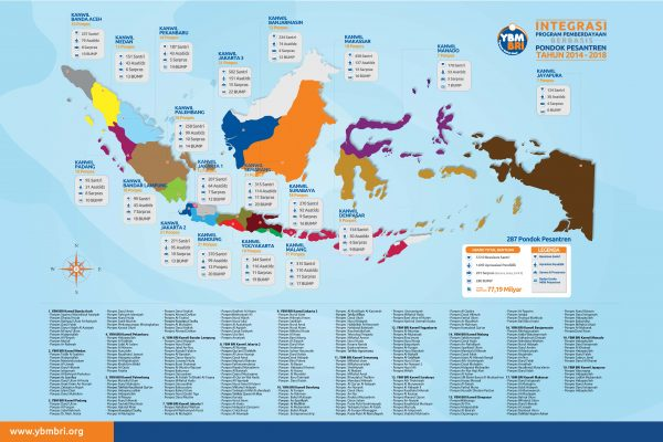Infografis Peta Persebaran Integrasi Program Perberdayaan Berbasis Pondok Pesantren (IP2BP) Tahun 2014-2018